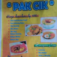 Menu Warung Sea Food Pak Cik